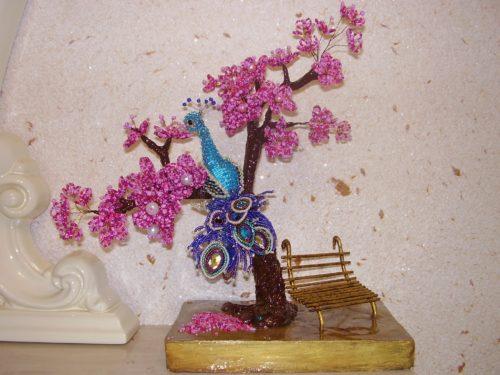 Дерево из бисера Бонсай с Жар птицей. Ручная работа