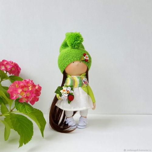 Человечки ручной работы. Кукла интерьерная. Кукла текстильная. Гномочка - куколка с цветами. Авторская кукла