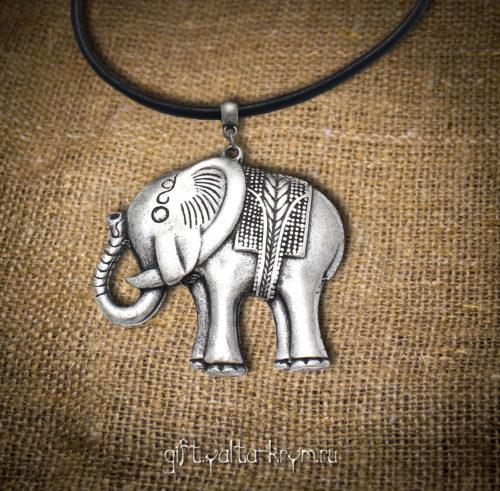 Ялта Бижутерия - Колье - Первая - Колье Веселый слоник (натуральная кожа)