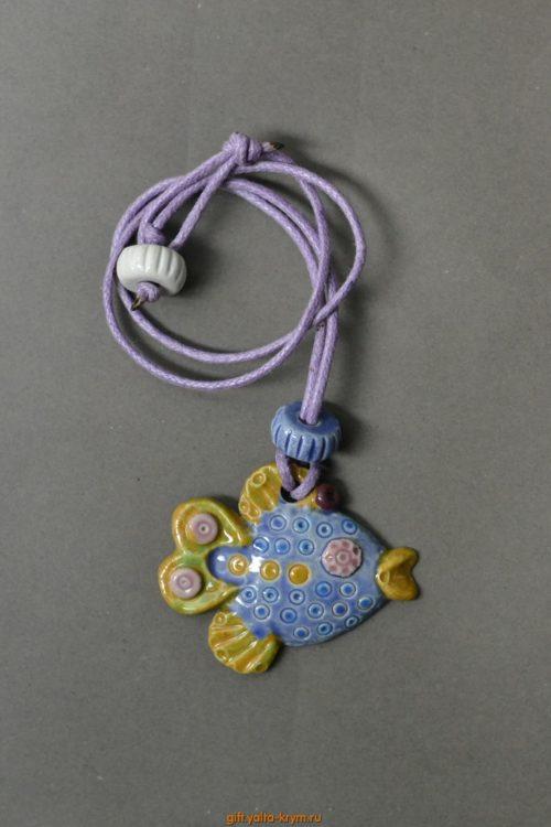 Кулон рыбка, керамика покрытая глазурью